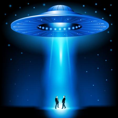 ufology: Disco volante � arrivato durante la notte. Illustrazione vettoriale Vettoriali