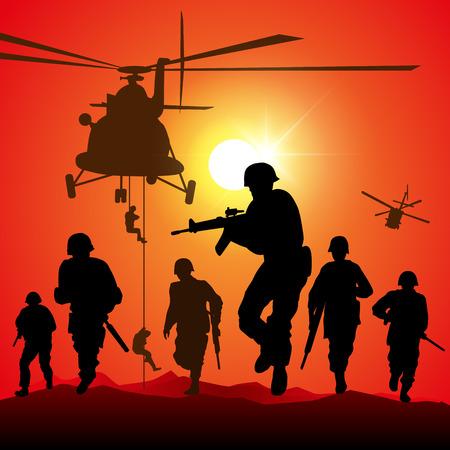 silhouette soldat: Hélicoptère diminue les troupes. Vector illustration