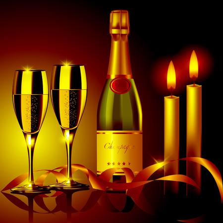 Romantische avond. Champagneglazen en kaarsen. Vector illustratie Stock Illustratie