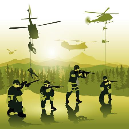 silhouette soldat: Hélicoptères se prépare pour débarquer des troupes sur le champ de bataille. Vector illustration