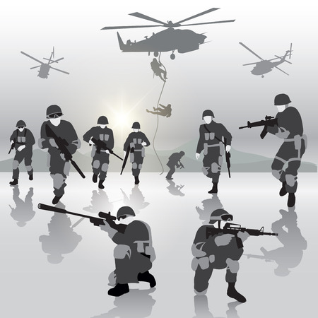 military forces: Squad of soldiers during the military operation. Vector illustration