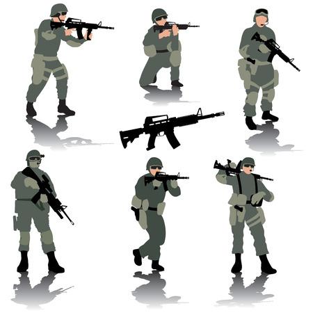 soldado: Conjunto de siluetas editables de soldados modernos. Ilustración vectorial Vectores