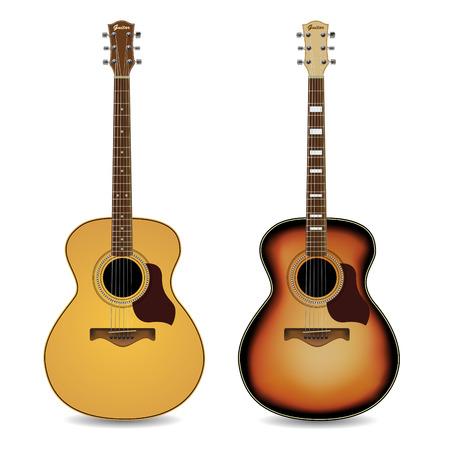 guitarra acustica: Guitarras acústicas aislados sobre fondo blanco. Ilustración vectorial