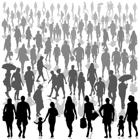Crowd of people isolated on background. Vector illustration