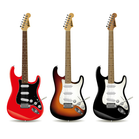Set of electric guitars in front of white background. Vector illustration