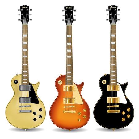 Set van elektrische gitaren op een witte achtergrond. Vector illustratie Stock Illustratie