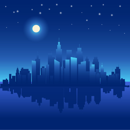 Abstract night background with silhouette of city. Vector illustration Vector