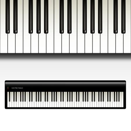 Keyboard en elektrische piano geïsoleerd op een witte achtergrond. Vector illustratie Vector Illustratie