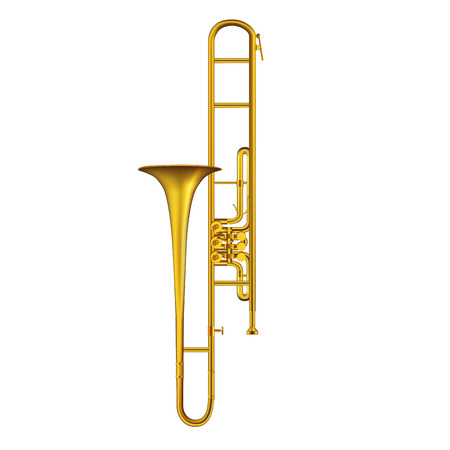 brass band: Trombone isolated on  white background. Vector illustration