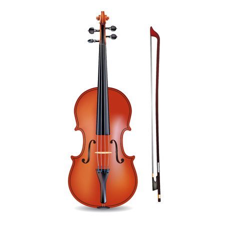 fiddle: Violin and bow isolated on  white background. Vector illustration