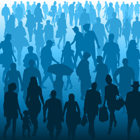 people standing: Crowd of people walking isolated on background. Vector illustration