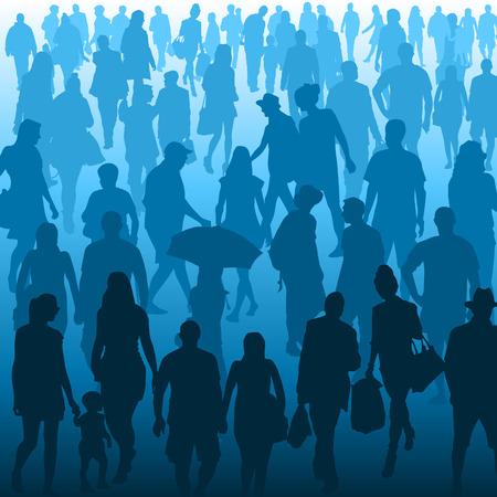 Menigte van mensen lopen geïsoleerd op achtergrond. Vector illustratie Stock Illustratie