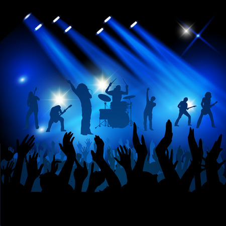 stage lights: Silhouettes of concert crowd in front of bright stage lights. Vector illustration