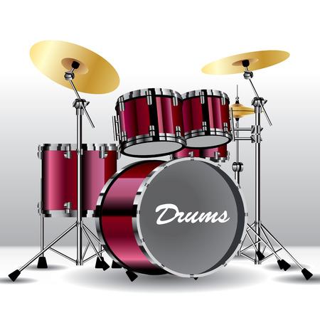 drum set: Drums isolated on background. Vector illustration Illustration