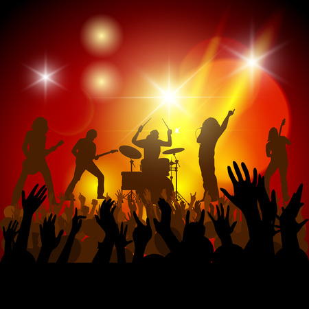 Silhouettes of concert crowd in front of bright stage lights. Vector illustration