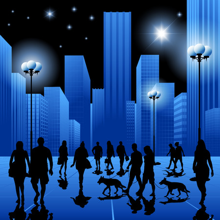 night suit: Crowd of people walking in the city at night. Vector illustration
