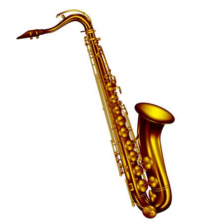 saxofon: Saxo tenor aislado en fondo blanco. Ilustración vectorial
