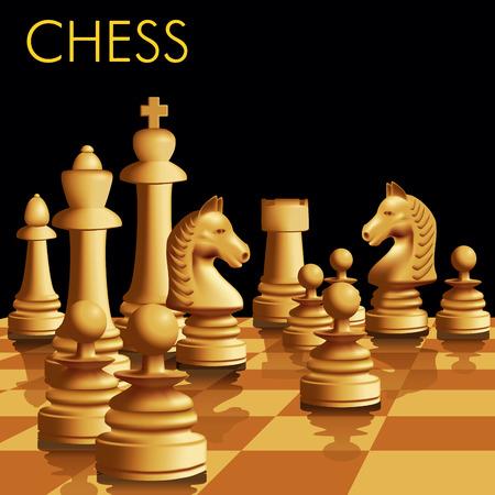 ajedrez: Piezas de ajedrez en el tablero de ajedrez. Ilustraci�n vectorial