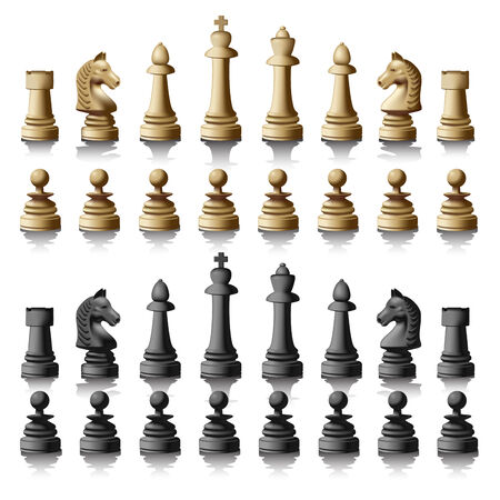 individual color: Chess pieces silhouettes isolated on white background. Vector illustration