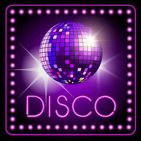 Mirror disco ball isolated on background. Vector illustration