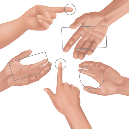 five objects: Human hands collection. Different hands, gestures. Vector illustration Illustration