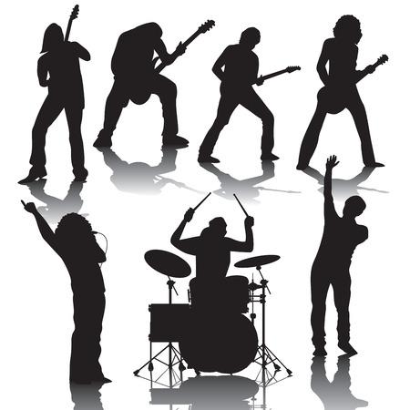 bateria musical: Conjunto de siluetas negras de músicos. Ilustración vectorial Vectores