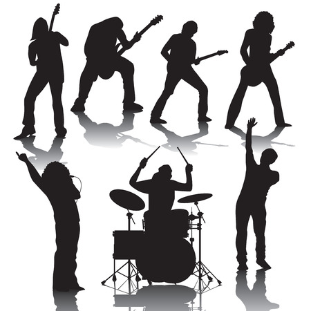 jazz drums: Set of black silhouettes of musicians. Vector illustration