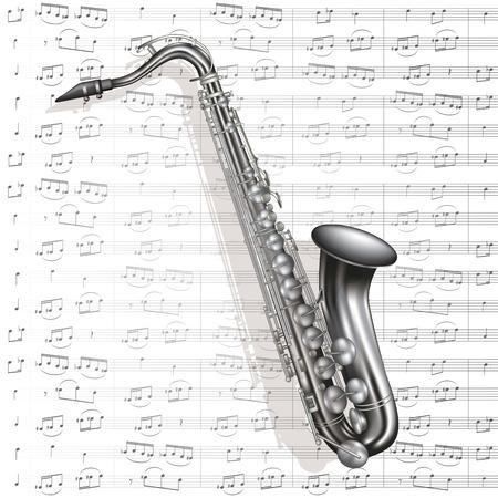 Retro sax isolated on music background. Vector illustration
