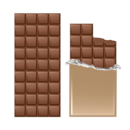 Dark chocolate bar isolated on white background. Vector illustration Illustration