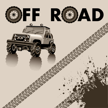 Off road car and tire tracks. Vector illustration