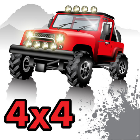 Off road car isolated on white. Vector illustration Illustration