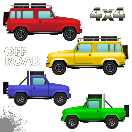 Off road vehicles isolated on white background. Vector illustration Vector
