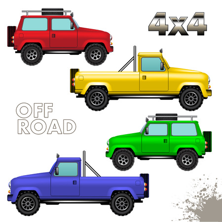Off road cars isolated on white background. Vector illustration Vector