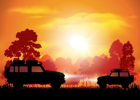 off road: Cars on off road isolated on background. Vector illustration Illustration