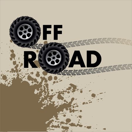 off track: Off road. Wheels and tire tracks isolated on white. Vector illustration