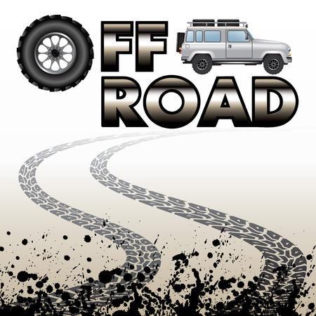 huellas de neumaticos: Huellas de neumáticos y el coche fuera de la carretera aislada en el fondo. Ilustración vectorial Vectores