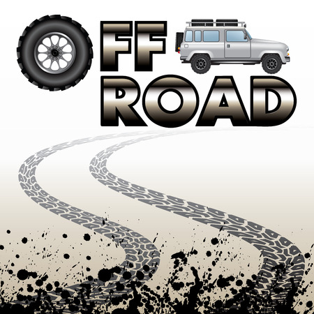 off road: Tire tracks and off road car isolated on background. Vector illustration