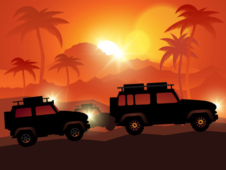 4x4: Cars on off road isolated on background. Vector illustration Illustration