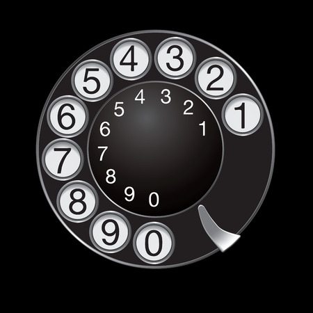 dialplate: Phone dial isolated on black background. Vector illustration