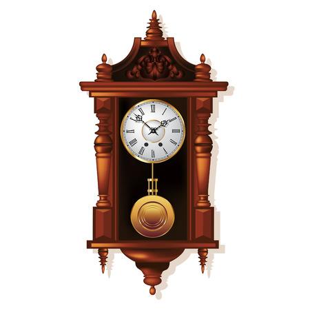 reloj de pendulo: Reloj de pared antiguo viejo aislado en blanco. Ilustración vectorial