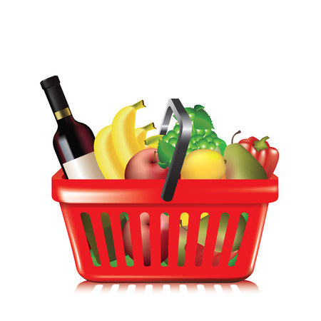 full shopping cart: Plastic shopping basket with variety of grocery products isolated on white. Vector illustration