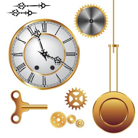 reloj de pendulo: Partes del mecanismo del reloj aislados sobre fondo blanco. Ilustración vectorial Vectores