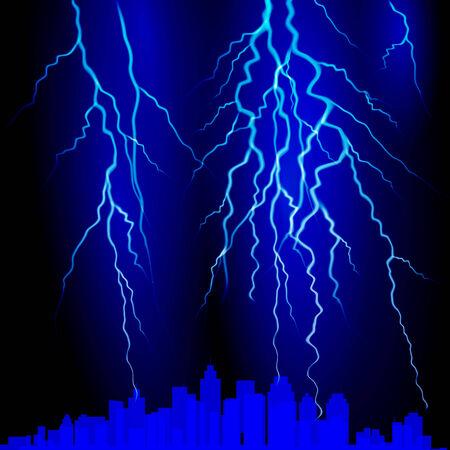 moody sky: Fulmine sul cielo. Illustrazione vettoriale