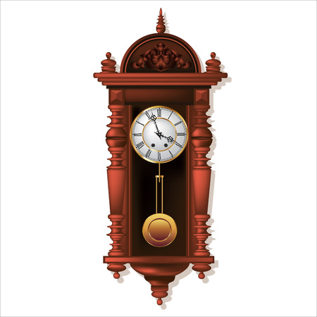 Old antique wall clock isolated on white. Vector illustration Vector