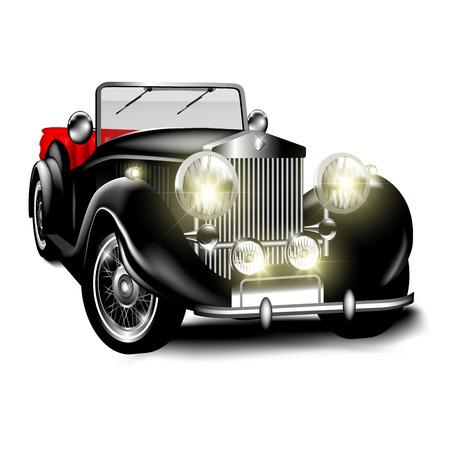 Zwart retro de auto op witte achtergrond wordt geïsoleerd die. Vector illustratie Vector Illustratie