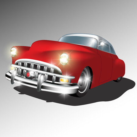 vintage travel: Retro red classic car isolated on white background. Vector illustration