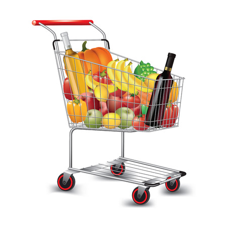 Shopping cart with variety of grocery products isolated on white. Vector illustration