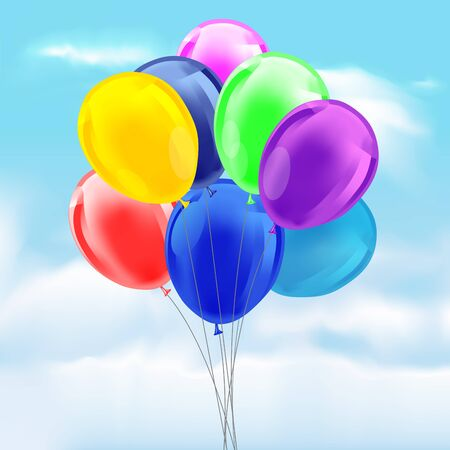 baloons: Set of colourful birthday or party balloons with ribbons tied together. Vector illustration