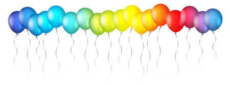 Set of colourful birthday or party balloons. Vector illustration