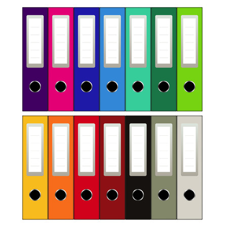 Set of colored ring binders isolated on white. Vector illustration
